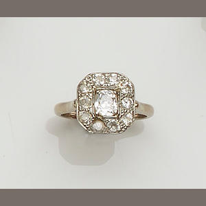 An Art Deco diamond panel ring