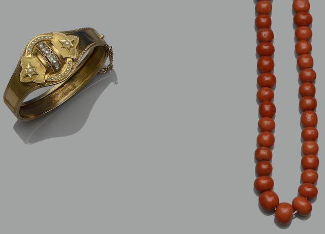 Two coral bead necklaces and a Victorian hinged bangle (3)
