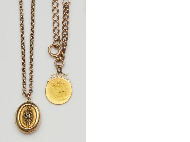 A collection of gold chains Comprising a 9ct rose gold graduated curb-link Albert chain, suspending a Victorian sovereign pendant (worn), a facetted belcher-link chain, stamped '9ct', and a belcher-link chain, stamped '9c', suspending an oval hinged locket pendant, gross weight 76gm.