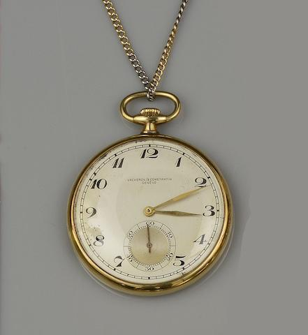 Vacheron Constantine: An 18ct gold slim open face pocket watch