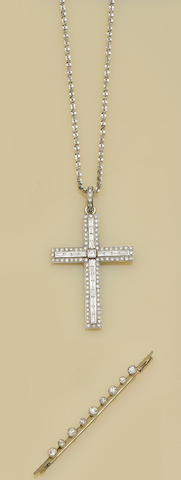 A diamond cruciform pendant and a diamond bar brooch (2)