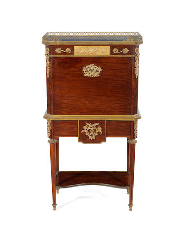 A French late 19th century Louis XVI style ormolu-mounted mahogany moucheté secrétaireafter a model by Jean-Henri Riesener