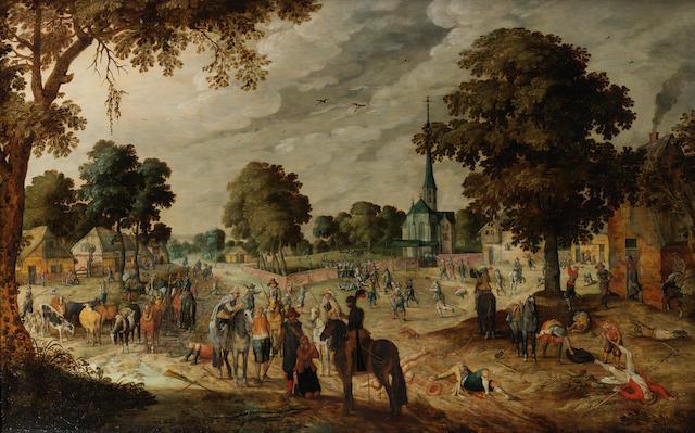 Studio of Sebastian Vrancx (Antwerp 1573-1647) A village skirmish in the Eighty Years' War