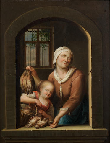 Hieronymus van der  Mij (Leiden 1687-1761) A woman and child with birds, at an arch