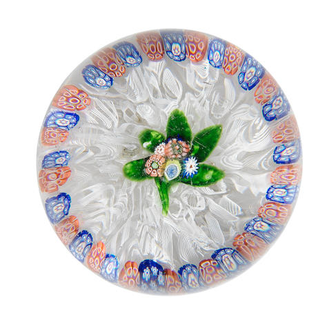 A St Louis flat bouquet garlanded glass paperweight