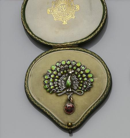 An enamelled peacock brooch, attributed to Child & Child (3)