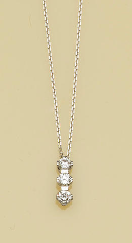 A diamond three stone pendant