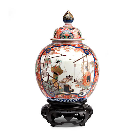 An Imari vase with cover and stand Circa 1900