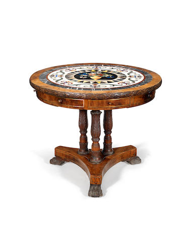 A Maltese walnut centre/drum table with inset specimen marble top