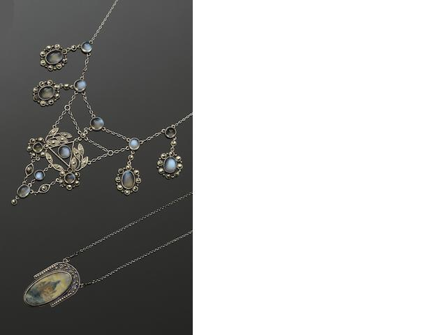 An Austrian enamel pendant, a marcasite and moonstone fringe necklace and a seed pearl and diamond bar brooch  (3)