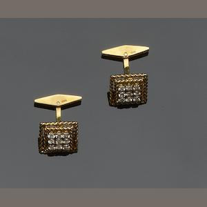 A pair of 18ct gold and diamond cufflinks