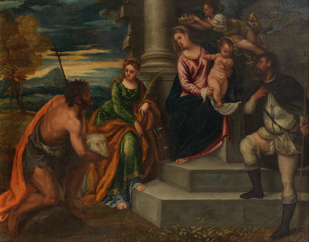 Attributed to Polidoro da Lanciano (Lanciano circa 1515-1565 Venice) A Sacra Conversazione with Saints John the Baptist, Catherine and Roch