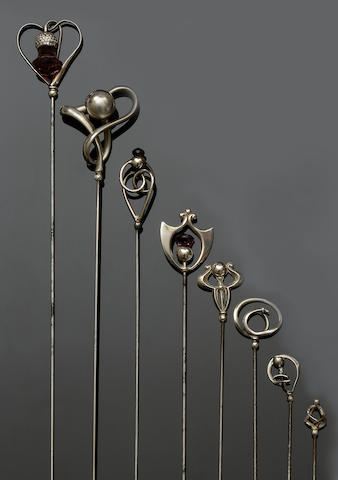 Charles Horner: A collection of six hatpins (8)
