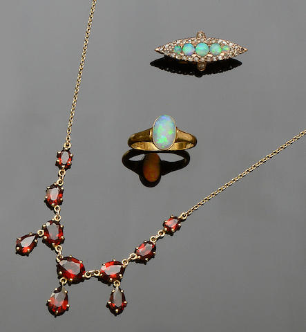 A diamond and opal brooch  (3)