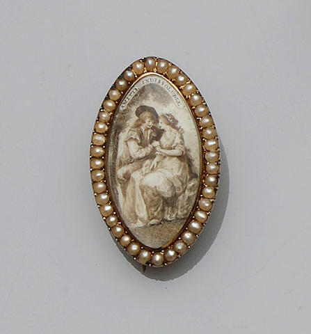 A George III gold mounted marquise-shaped brooch