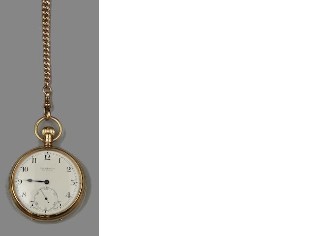 A 9ct gold open face pocket watch and a 9ct gold Albert chain(2)