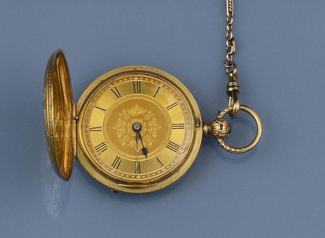 An 18ct gold hunter pocket watch and an Albert chain (2)