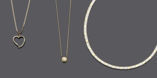 A diamond solitaire pendant, a diamond set heart pendant and a parcel-gilt necklace (3)
