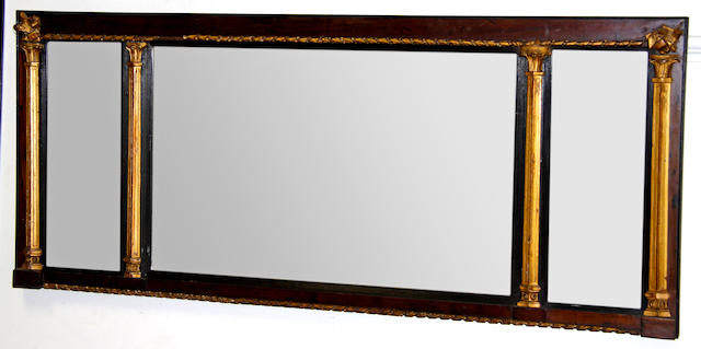 A Chippendale style mahogany fretwork wall mirror,