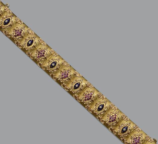 An 18ct gold modern panel bracelet