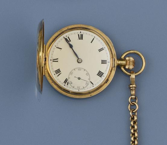 An 18ct gold hunter pocket watch and an Albert chain(2)