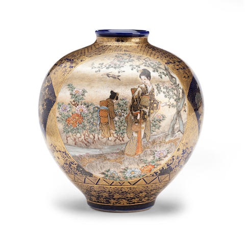 In the style of Kinkozan, a Satsuma vase Meiji