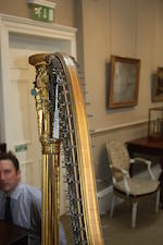 A 19th century satinwood, line inlaid and gilt-gesso Grecian harpBy Sebastian Erard