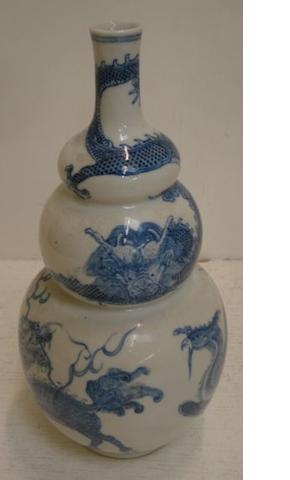 A Japanese porcelain blue and white triple gourd shape vase, decorated around the sides with dragons, 27.5cm.