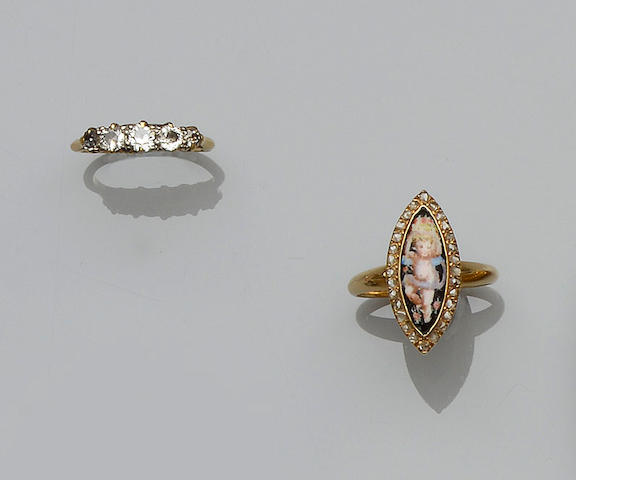 A diamond five stone ring and a diamond set panel ring (2)