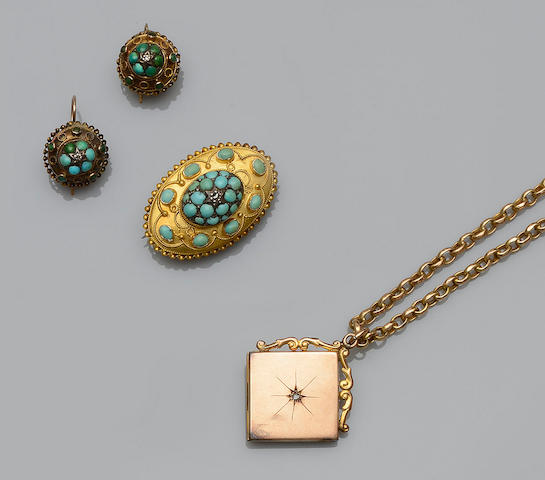 A Victorian turquoise and diamond set brooch  (3)