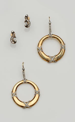 A pair of diamond set earhoops and a pair of diamond set earclips (2)