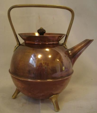 Attributed to Christopher Dresser for Benham & Froud, a copper and brass teapot globular body with high loop on three feet, stamped makers mark,24cm high.