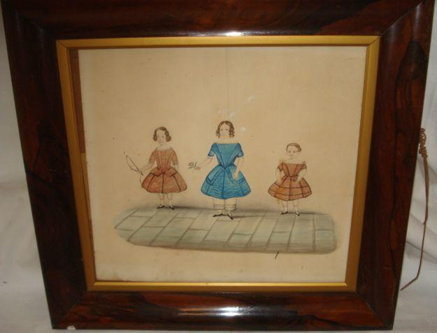 19th Century Niave School Portrait of three young children 34 x 37cm,