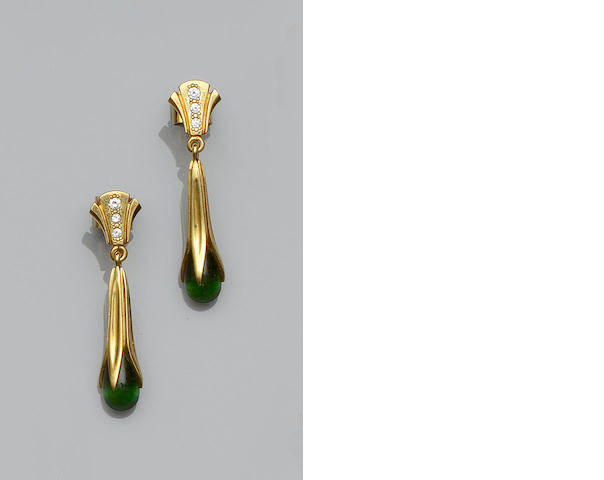 A pair of green tourmaline and diamond earpendants