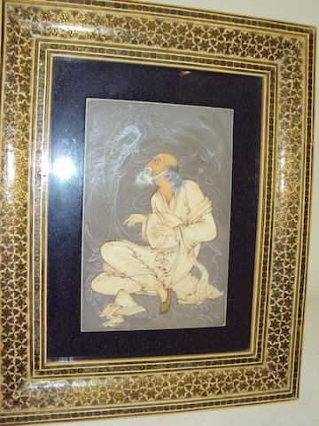 An Iranian painted ivory panel set in a sadeli-work frame, 20th century