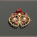 A double heart brooch