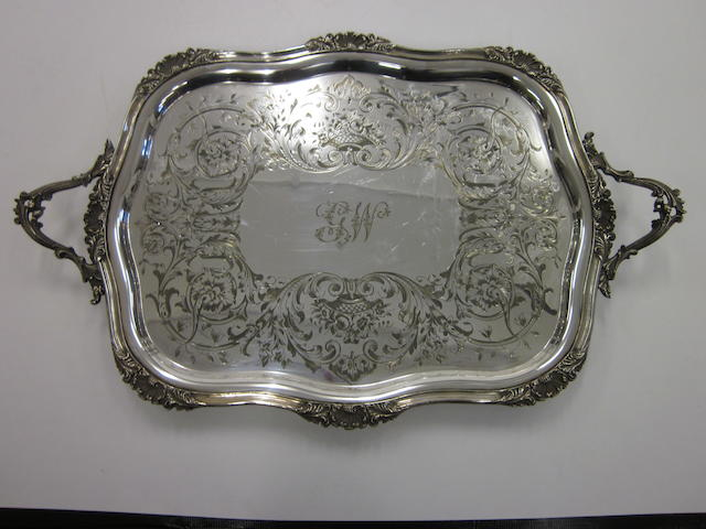 An electroplated two handled tea tray,