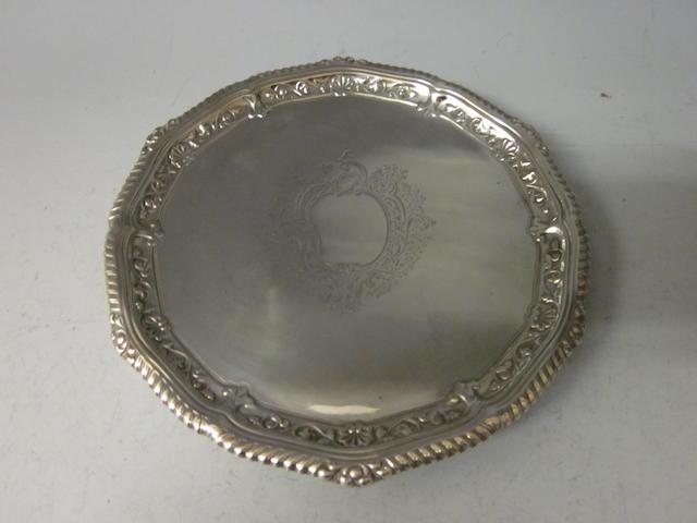 A Victorian circular silver salver, London 1895  George Maudley Jackson,