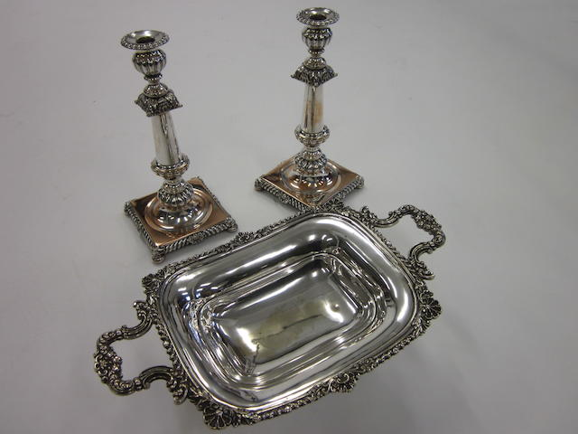 An electroplated two handled bowl,  (3)