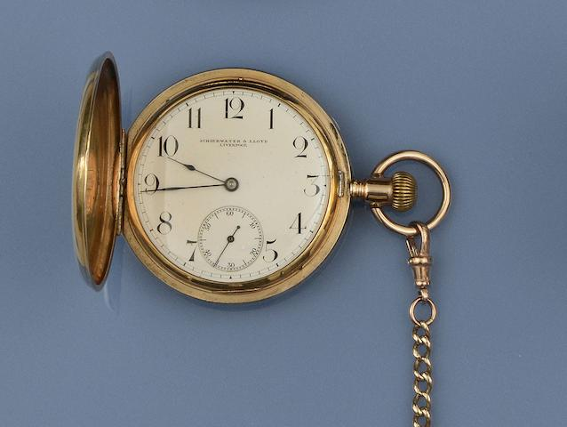 A hunter pocket watch and a curb-link Albert chain (2)