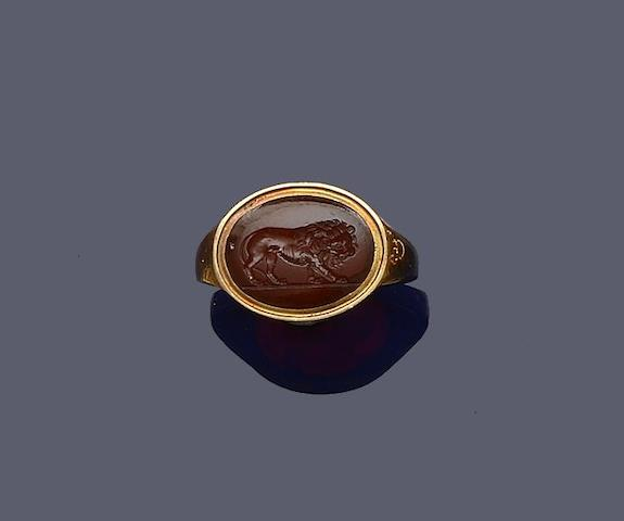 An antique cornelian intaglio ring