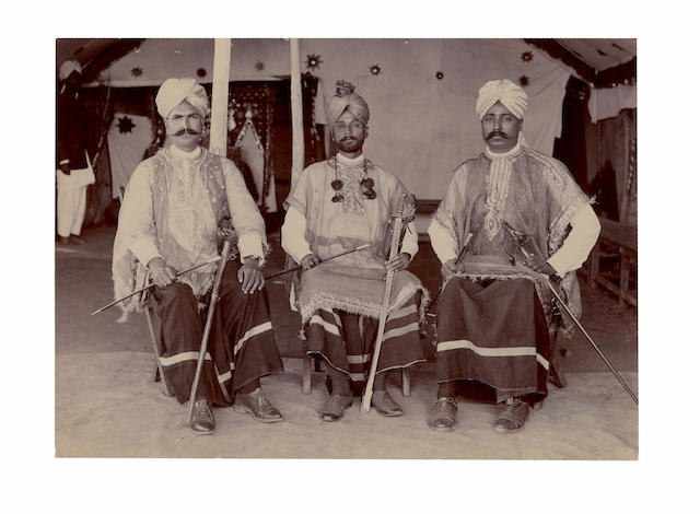 DAYAL (LALA DEEN) Lord Curzon at Surat Castle, and 3 others by Deen Dayal; sycees and mounts, 2 ceremonial body guards and several portraits, albumen and gelatin silver prints, most mounted, some captioned in manuscript on the mounts, images 210 x 28mm. or smaller, 1890-1900 (10)