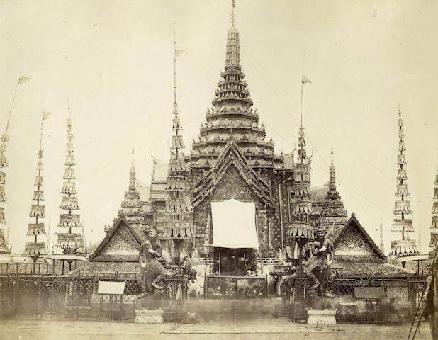 BURMA A view of a Burmese pagoda, the entrance or shrine protected by a large white awning, attributed to Felice Beato
