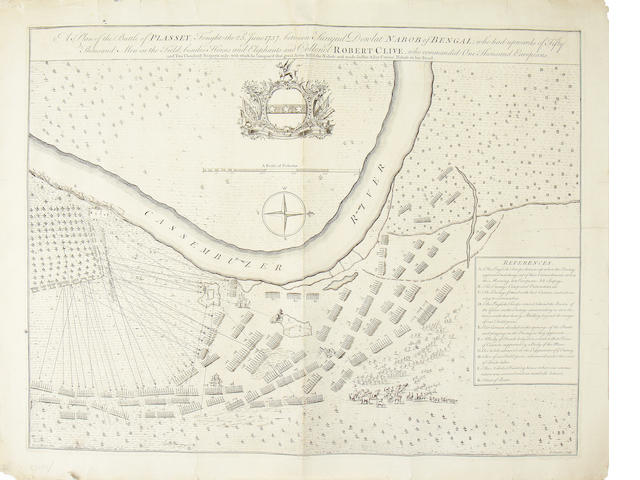 "PLASSY, Battle of -- ""A Plan of the Battle of Plassy, Fought the 23rd June 1757, between Surajid Dowlat Nabob of Bengal, engraved plan, [c.1760]"
