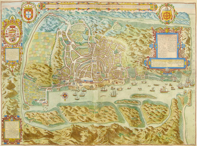 GOA - [LINSCHOTEN (JAN HUYGEN VAN)] A Ilhae cidade de Goa metropolitana da India e partes orientals que esta en 15 graos da banda do norte, hand-coloured engraved city plan, [c.1595]