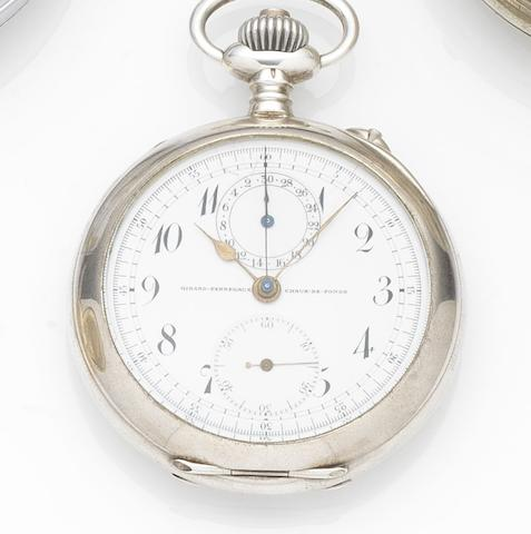 Girard-Perregaux. A silver keyless wind open face chronograph pocket watch Case No.317968, Circa 1905