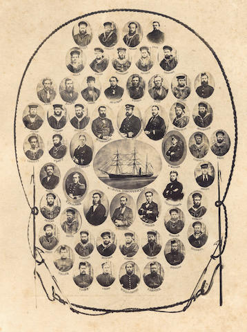 BRITISH ARCTIC EXPEDITION, 1875-76 Two photographs, each with portraits of all of the crew members of the <i>Discovery</i> and the <i>Alert</i> identified by surname, 1875 (2)