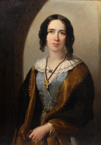 Continental School, 19th Century Portrait of a young woman, half length, wearing gold embroidered black shawl over a blue dress,