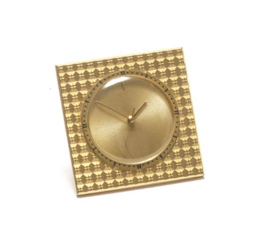 Jaeger-LeCoultre. A gilt metal manual wind travel alarm clock Case No.962343, Movement No.1697881, Circa 1960