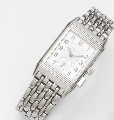 Jaeger-LeCoultre. A lady's stainless steel manual wind reversible bracelet watch with 60 minute timing function together with box and papers Reverso Memory, Ref:255.8.82, Case No.1954889, Circa 2000